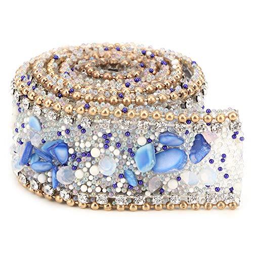Cinta de diamantes de imitación, adornos de cuentas de diamantes de imitación, cristal para zapatos, bolsa de ropa, decoración de banquete de boda, 2 cm de ancho(azul claro + dorado)