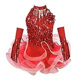 Agoky Vestido de Baile Latino Lentejuelas para Niña 4Pcs Vestido de Danza Flecos Traje de Salsa Rumba Samba Baile de Salón Disfraz Bailarina Fiesta Rojo A 7-8 años