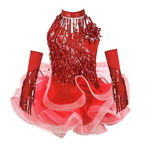 Agoky Vestido de Baile Latino Lentejuelas para Niña 4Pcs Vestido de Danza Flecos Traje de Salsa Rumba Samba Baile de Salón Disfraz Bailarina Fiesta Rojo A 3-4 años