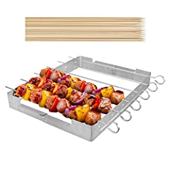 【Upgraded Version】Includes 6 stainless steel skewers + 1 grill rack + 50 bamboo skewers. The grill rack is enlarged to increase the cooking area by 10% and elevate the shish kabobs, keeps food high enough off the grill grates to prevent sticking, per...