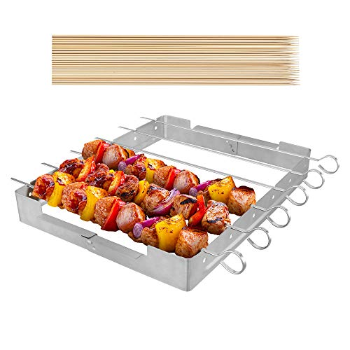 UNICOOK Upgraded Stainless Steel Barbecue Skewer Shish Kabob Set, 6pcs 13.5