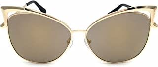 LUKEEXIN Women's Cat Eye Style Metal Frame Sunglasses Lady Glasses (Color : Gold)