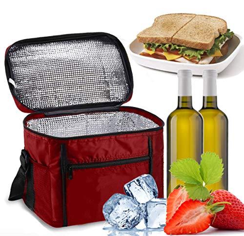 Sinwind Kühltasche Faltbar, Picknicktasche Kühltasche Thermotasche Klein Lsoliertasche Lunch Kühltasche Eistasche Lunch Tasche Kühlbox 10L für Picknick (rot)