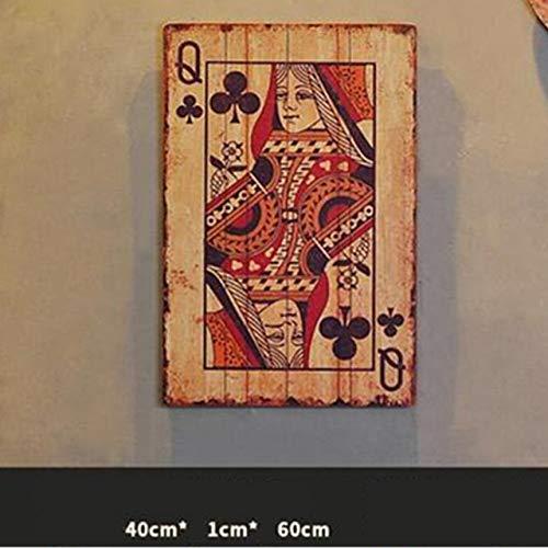 Versier LKU Retro simulatie speelkaarten JQK massief houten foto bar internet cafe creatieve achtergrond wanddecoratie, Dark Khaki
