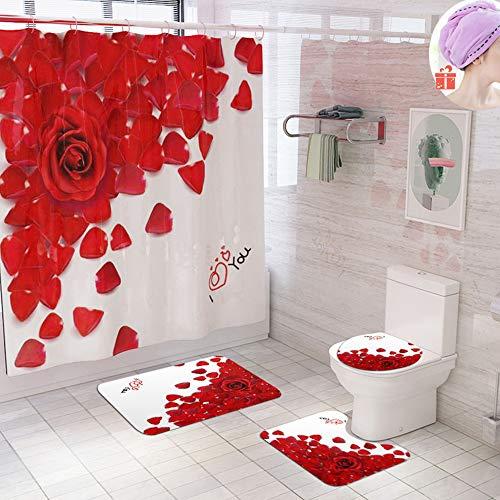 Enhome Juego de 4 Piezas de Cortinas de Ducha, Flores Alfombra de baño Antideslizante + Tapa de Inodoro + Cortina de Ducha Resistente al Moho 3D Impresión (Rojo Amor)