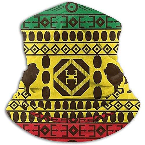 Forro polar unisex para cuello con patrón tradicional africano de Leones Rasta Jamaica, resistente al viento, para invierno, para el frío, para hombres y mujeres, color negro