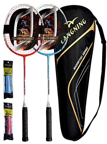 LANGNING 2er-Pack Badmintonschläger Full Carbon Home Training Set Der ganze Schläger ist aus Kohlefaser, inklusive 3 Badminton-Federbälle/2 Griffe/1 Badminton-Tasche, Rot/Blau…