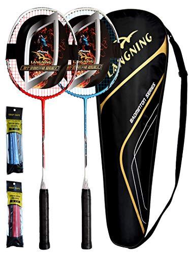 LANGNING Badminton Rackets Full Carbon Fiber 2 Pack Lightweight Home Training Set