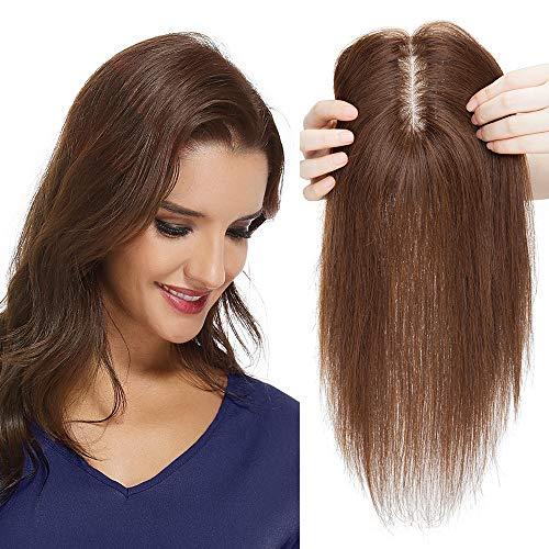 Silk-co Topper Extensions Echthaar Haarteile Echthaar Weich Natürlich Pony Haarverlängerung Toupet Hair Extensions für Frauen 10x12cm Seide Basis 7A Human Hair 25cm 35g Mittelbraun