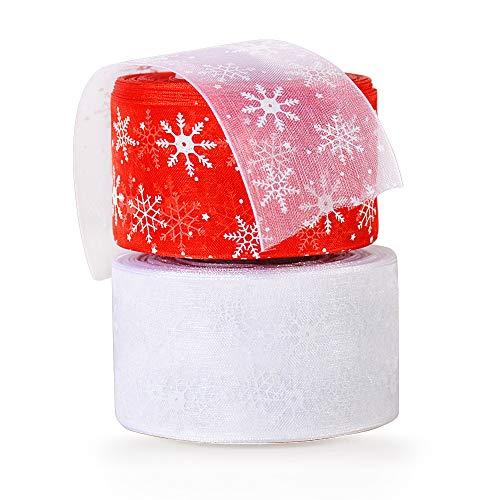 2 pezzi Nastro Natalizio Tulle Poliestere Rosso Bianco Fiocco di Neve Nastri Natale Nastrini Decorativo Decorazioni per Festa Regalo Scatole Bomboniere Fai da Te (4cm x 23m x 2 rotoli)