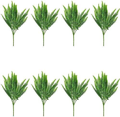 Pkfinrd 8 PCS kunstbloemen outdoor planten, 8 takken van kunstmatige plastic korenbloem groene struik planten binnen en buiten