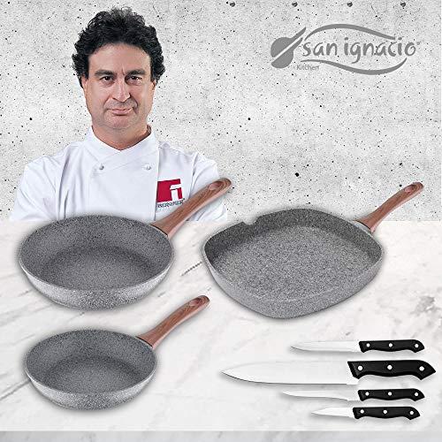 San Ignacio Granito Set 3 sartenes + 4 Cuchillos, Aluminio