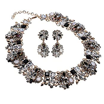 Crystal Rhinestone Statement Necklace Vintage Chunky Chain Choker Collar Bib Statement Necklace Fashion Costume Jewelry Necklaces for Women