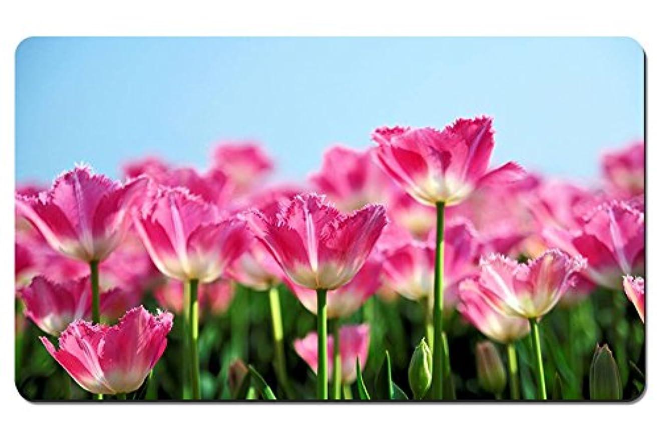 の間に良いテメリティピンクのチューリップの花が、春の青空を背景に咲く パターンカスタムの マウスパッド 植物?花 デスクマット 大 (60cmx35cm)