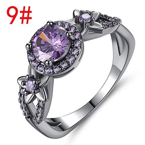 SARUI Ringe für Damen Anti-Allergie und Rostschutz Anlaufbeständig und verfärbt Sich Nicht so leicht Einem Jubiläum Verlobungsringe Farbiger Zirkonring Blume Schwarzgold Ring Schwarzgold Lila 9#