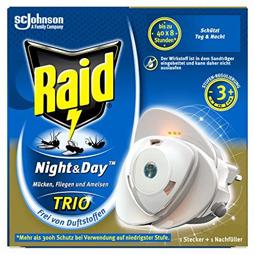 Raid Night & Day Trio Insekten Stecker, Schutz vor fliegenden & kriechenden Insekten, Stecker & 1 Nachfüller, bis zu 300 Stunden
