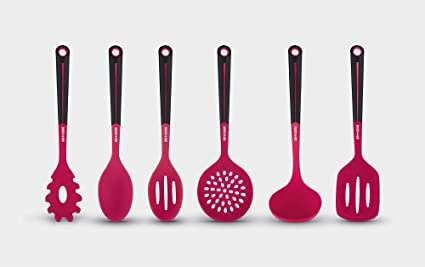 Basic Serveware For Stove Top Art Cook 6pc Silicone Kitchen Utensil Set Kitchen Dining Amazon Com