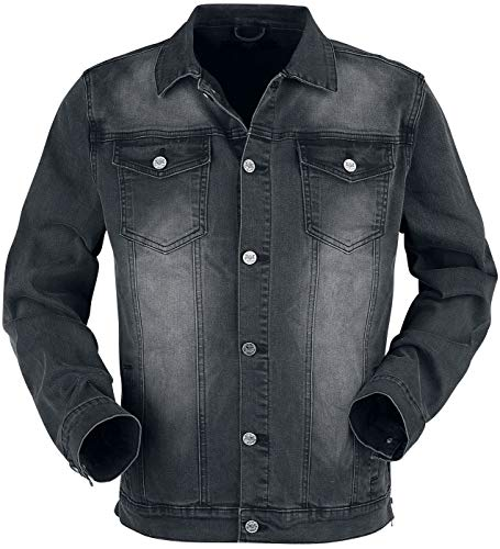 Black Premium by EMP dunkelgraue Jacke mit Brusttaschen und Knopfleiste Männer Jeansjacke dunkelgrau M