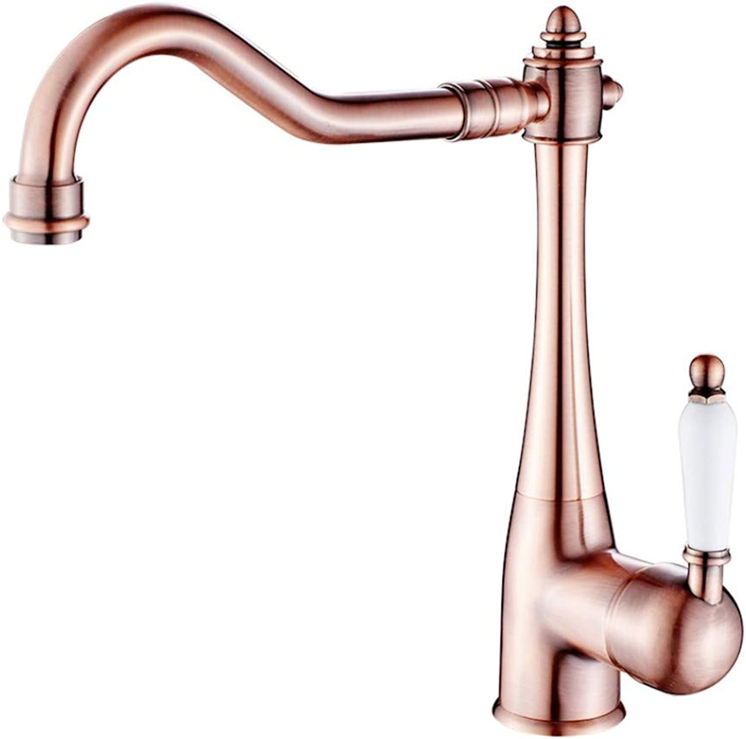 Kitchen Sink Taps Bathroom Taps All Copper Red Bronze Handle redary Hot and Cold Water Faucet European Retro Basin Top Basin Faucet.