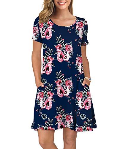 KORSIS Women's Summer Floral Dresses T Shirt Dress Flower...