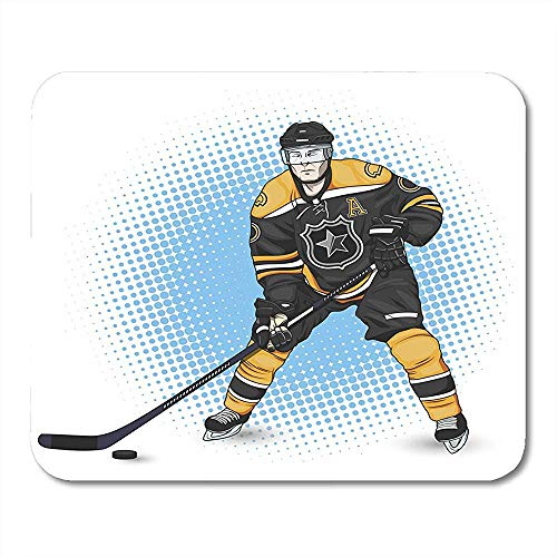 Mousepad Grafischer Schwarzer Liga-Eishockey-Spieler-Weißer Einheitlicher Stock Bürozubehör 25X30Cm Notizbücher Tischrechnermatten