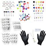 Jovivi 126pcs Body Piercing Kit for Ear,Eyebrow,Nipple,Lip,Belly Button,Tongue,Nose Piercing Jewelry 14G,16G,20G - Needles, Gloves and Tools Included