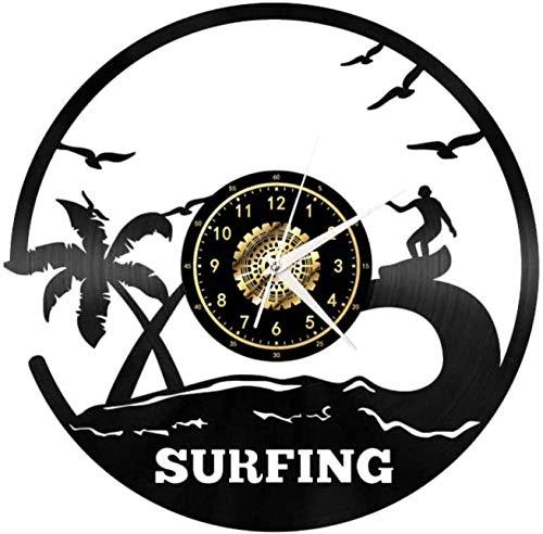 GVSPMOND Reloj de Pared Summer Surf Classic CD Reloj de Cuarzo Arte de Pared Diseño 3D Decoración del hogar 12 Pulgadas