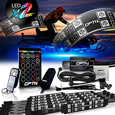 OPT7 10pc Aura Snowmobile Body Glow LED Lighting Kit | Multi-Color Accent Neon Strips w/Switch (Double Row)