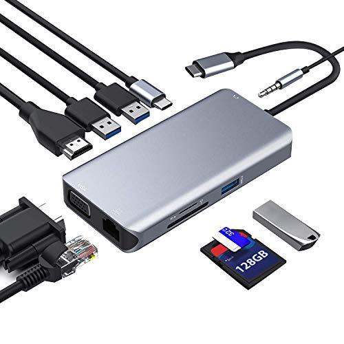 Gesh USB-C-Hub, Typ C, 10-in-1-Dongle mit Ethernet, 4K HDMI, VGA, 3 USB 3.0, /TF-Kartenleser, Mikrofon/Audio, USB-C PD 3.0, kompatibel mit Air Pro und anderen Typ-C Laptops