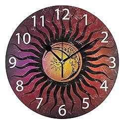 senya Sun Or Moon Bohemian Design Round Wall Clock, Silent Non Ticking Oil Painting Decorative for Home Office School Clock Art