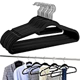 BAGAIL Pack of 30 Black Velvet Hangers,Non Slip Notched Coat/Suit Hangers,Space Saving 360 Degree Swivel Hook Clothes Hangers with Accessory Bar(30 Pack Black)
