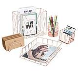 Organizador de escritorio 5 piezas 5 en 1, accesorios de rejilla metálica, incluye soporte para lápices, portalápices, bandeja para cartas, clasificador de cartas para oficina, color oro rosa