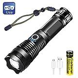 LED Taschenlampe XHP50 Superhelle 4000 Lumens USB Wiederaufladbare(18650 Batterie Inklusive), 5 Modi...