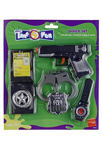 Polizeiset, Polizei set mit Pistole, Handschellen, Abzeichen und Watch
