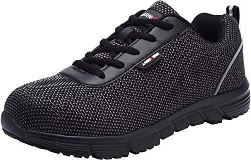 Zapatillas de Seguridad Hombre,LM170130 S1 SRC Zapatos de Trabajo Mujer con Punta de Acero Ultra Liviano Reflectivo Transpirable 43 EU,Medianoche Negro