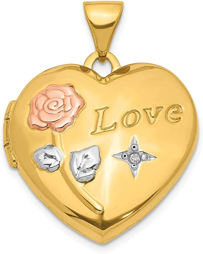 14k Yellow Gold White Rose Love Diamond Heart Locket Pendant Charm Necklace Fine Jewelry For Women Gifts For Her
