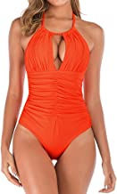 Women's One Piece Swimsuits Tummy Control High Neck Swimwear Slimming Monokini Bathing Suits for Women Backless Mesh Ruched Swimsuit