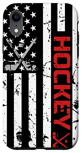 iPhone XR Hockey phone case Red American Flag gift Hockey Lover Case