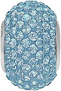 SWAROVSKI Pave Bead Aquamarine Color Stainless Steel Becharmed 14 mm-9.30 mm