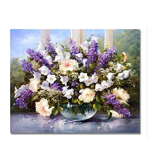 DIOPN Bloemen doe-het-zelf schilderen op nummer, vaas olieverfschilderij acrylverf op canvas, moderne muurkunst, digitaal schilderij (zonder lijstwerk, 40 x 50,50 x 60 cm) 40 * 50 cm
