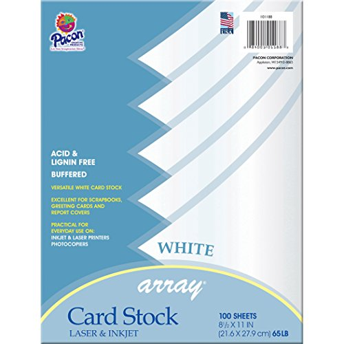 Pacon Card Stock, Classic White, 8-1/2' x 11', 100 Sheets Per Pack, 2 Packs