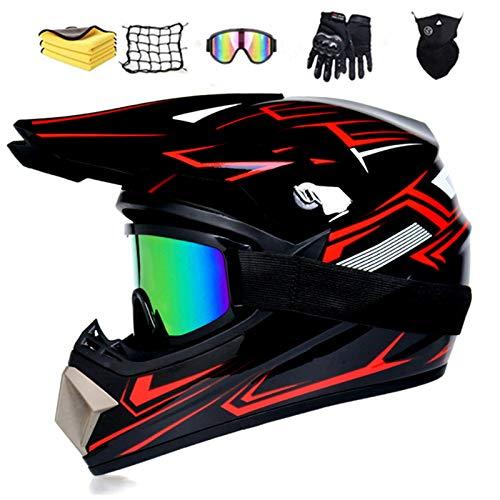 NJYBF Casco Moto Motocross Bambino, Casco Professionale Da Motocross, Integrali Downhill Dot Omologato Caschi Set (XL (58-59cm))