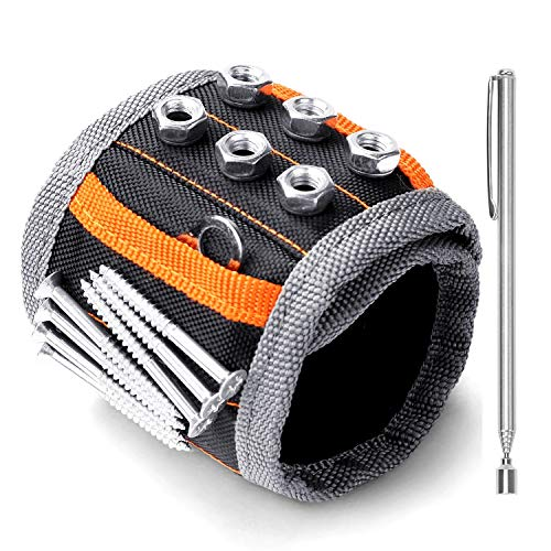 HORUSDY Magnetic Wristband, for Dad, with Strong Magnets for Holding Screws, Nails, Drilling Bits, Tool Gift for Men