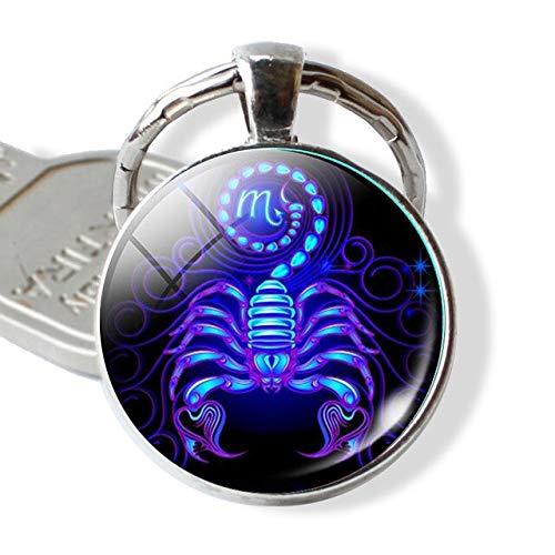 Llavero de Escorpio en cabujón de cristal