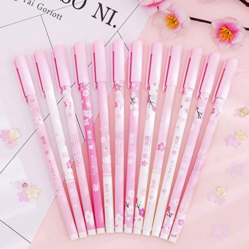 Pink Rollerball Pens 12 Pack Bulk,Gel Black Ink Pens Set,Retractable Cute Creative Studen Pen,Kids Girl Women School Office Supplies Gift,Novelty Stationery