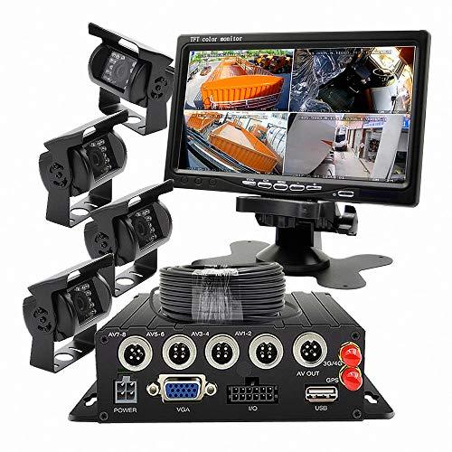 Wen&Cheng 4 canaux Mobile AHD DVR 3G GPS Enregistreur vidéo / audio en temps réel avec télécommande + 4x étanche 18 IR LED Caméra + 7\