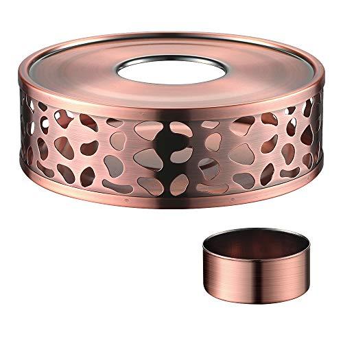 ecooe Stövchen Teewärmer Kaffeewärmer aus Edelstahl mit Teelichthalter,Teelicht und Teekanne ist Nicht enthalten (Farbe Kupfer)