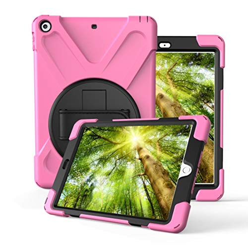 DESHENG Smartphone Protective Clips for iPad Pro10.5 / Air 10.5 2019 360 Degree Rotation PC + Silicone Protective Case with Holder & Hand-Strap Phone Bag (Color : Pink)
