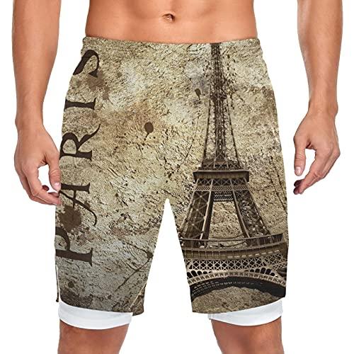 Mnsruu Pantalones cortos vintage Paris Torre Eiffel Street para hombre de entrenamiento deportivo con bolsillo corto