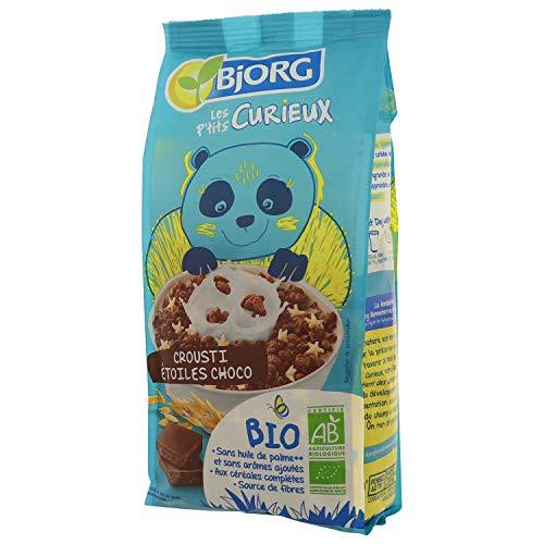 Bjorg Les P'tits Curieux – Crousti Étoiles Chocolat - Céréales enfants bio pour le petit déjeuner – 1 paquet de 375 g